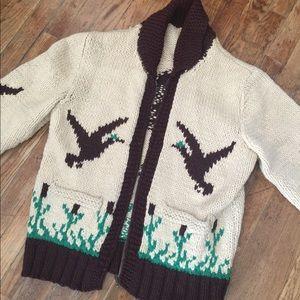 Vintage cowichan beige brown knit sweater cardigan
